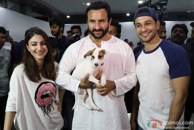 Saif Ali Khan, Kunal Khemu and Soha Ali Khan during the pups and kitten adoption camp