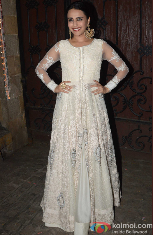 Swara Bhaskar during the Anil Kapoor's Diwali celebrations