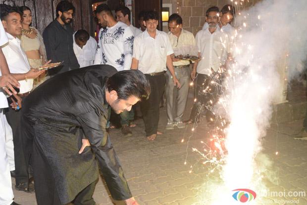Harshwardhan Kapoor, Anil Kapoor and Sonam Kapoor during Diwali celebrations