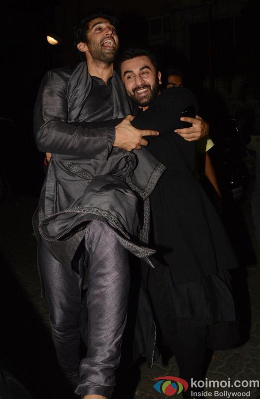 Ranbir Kapoor and Aditya Roy Kapoor during the Anil Kapoor's Diwali celebrations