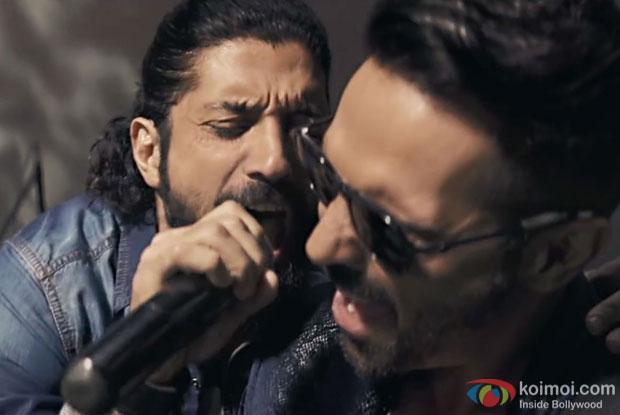Farhan Akhtar and Arjun Rampal in a still from Rock On 2
