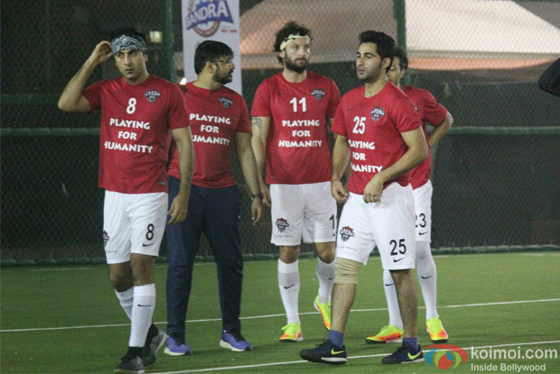 Ranbir kapoor and Armaan jain during the All Stars Football Club (ASFC) football match for charity cause