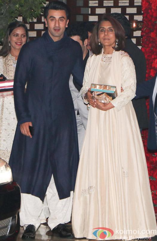Ranbir kapoor and Neetu Singh spotted at Mukesh Ambani,s party