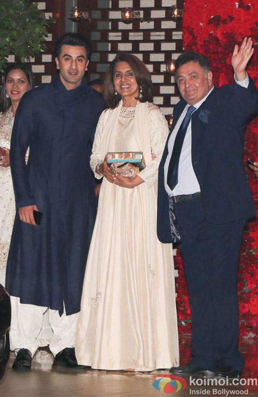 Ranbir kapoor Neetu Singh and Rishi kapoor spotted at Mukesh Ambani,s party