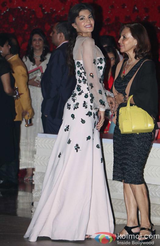 Jacqueline Fernandez spotted at Mukesh Ambani,s party