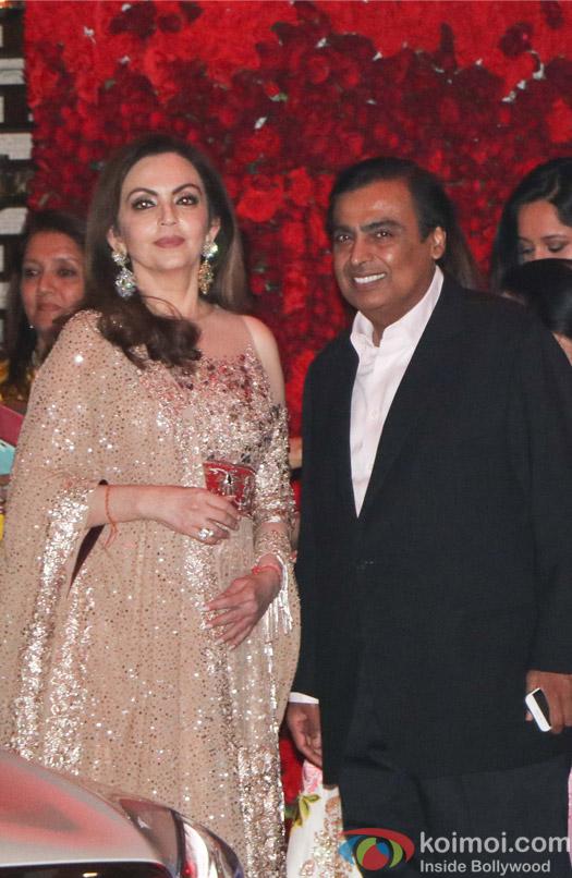 Nita Ambani and Mukesh Ambani spotted at party