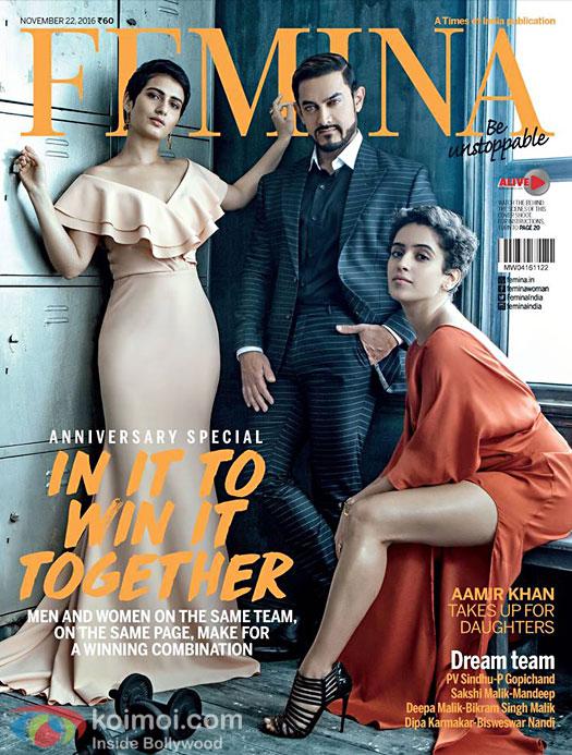 Dangal Trio: Aamir Khan, Sanaya Malhotra & Fatima Sana Sheikh Grace Femina Cover