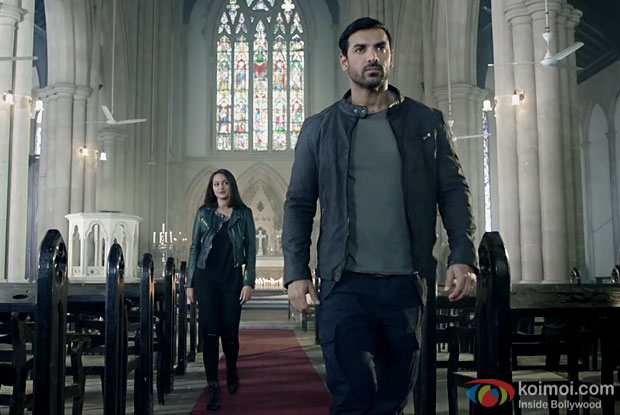 Sonakshi Sinha and John Abraham in a still from Force 2