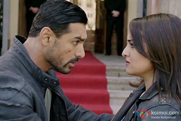 John Abraham and Sonakshi Sinha in a still from Force 2