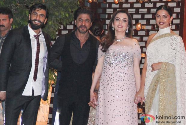 Ranveer Singh, Shah Rukh Khan, Nita Ambani and deepika Padukone at Mukesh and Nita Ambani's niece Isheta's Pre wedding Party