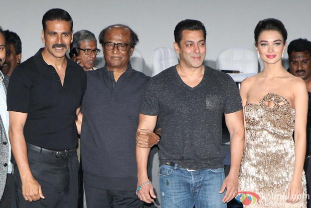 Salman Khan, Rajnikanth, Amy Jackson and Akshay Kumar during the first look launch of film 2.0