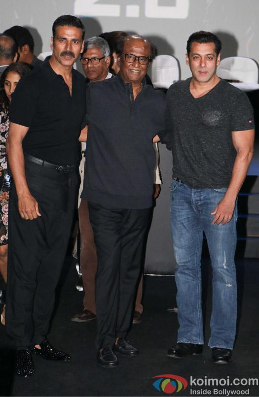 Salman Khan, Rajnikanth and Akshay Kumar during the first look launch of film 2.0