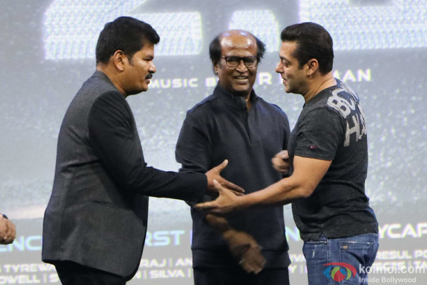 Salman Khan, Rajnikanth and S Shankar during the first look launch of film 2.0
