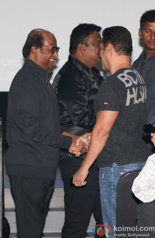 Rajnikanth and Salman Khan during the first look launch of film 2.0