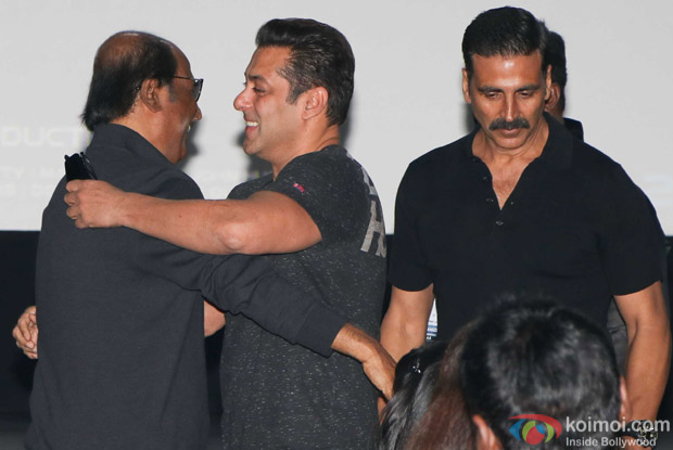 Rajnikanth, Salman Khan and Akshay Kumar during the first look launch of film 2.0