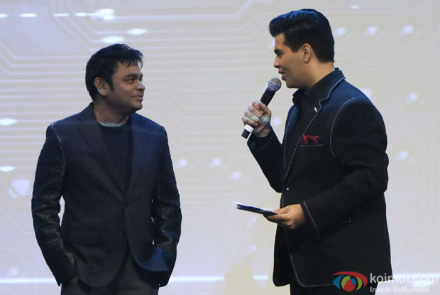 A. R. Rahman and Karan Johar during the first look launch of film 2.0
