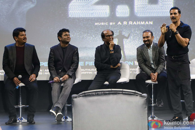 A. R. Rahman, S Shankar, Rajnikanth and Akshay Kumar during the first look launch of film 2.0