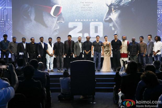 A. R. Rahman, S Shankar, Rajnikanth, Salman Khan, Amy Jackson and Akshay Kumar during the first look launch of film 2.0