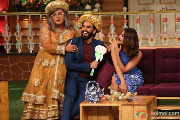 Ranveer Singh and Vaani Kapoor on the sets of The Kapil Sharma Show