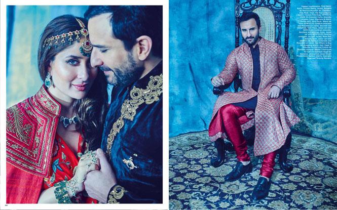 Saif Ali Khan and Kareena Kapoor Khan on the cover of Harper's Bazaar Bride