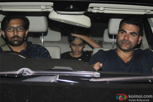 Arbaaz Khan with son Arhaan Khan spotted at Salman Khan's House
