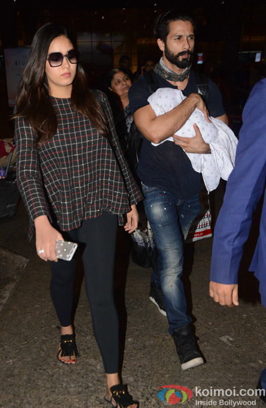 Shahid kapoor and Mira Rajput with baby daughter Misha spotted at airport
