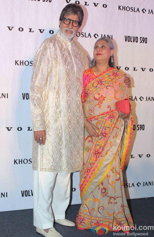 Amitabh Bachchan and Jaya Bachchan during the launch of Fashion Designers Abu Jani and Sandeep Khosla's new international line in associationwith Volvo S90