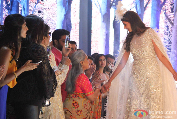 Jaya Bachchan, Amitabh Bachchan, Abhishek Bachchan and Shweta Bachchan Nanda during the launch of Fashion Designers Abu Jani and Sandeep Khosla's new international line in associationwith Volvo S90