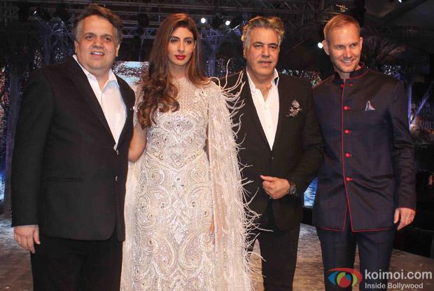 Shweta Bachchan Nanda during the launch of Fashion Designers Abu Jani and Sandeep Khosla's new international line in associationwith Volvo S90