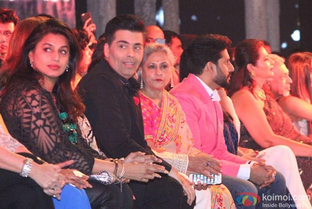 Karan Johar, Jaya Bachchan and Abhishek Bachchan during the launch of Fashion Designers Abu Jani and Sandeep Khosla's new international line in associationwith Volvo S90