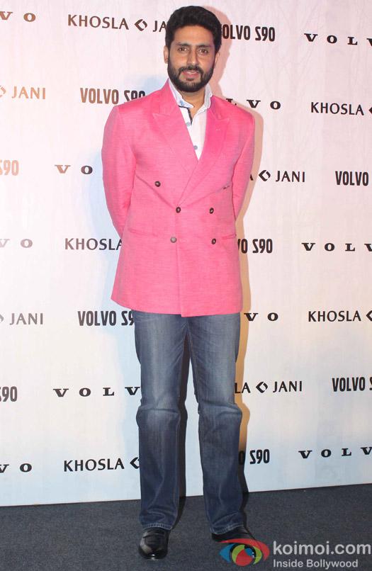 Abhishek Bachchan during the launch of Fashion Designers Abu Jani and Sandeep Khosla's new international line in associationwith Volvo S90