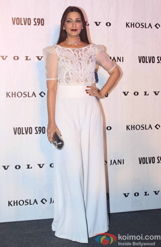 Sonali Bendre during the launch of Fashion Designers Abu Jani and Sandeep Khosla's new international line in associationwith Volvo S90
