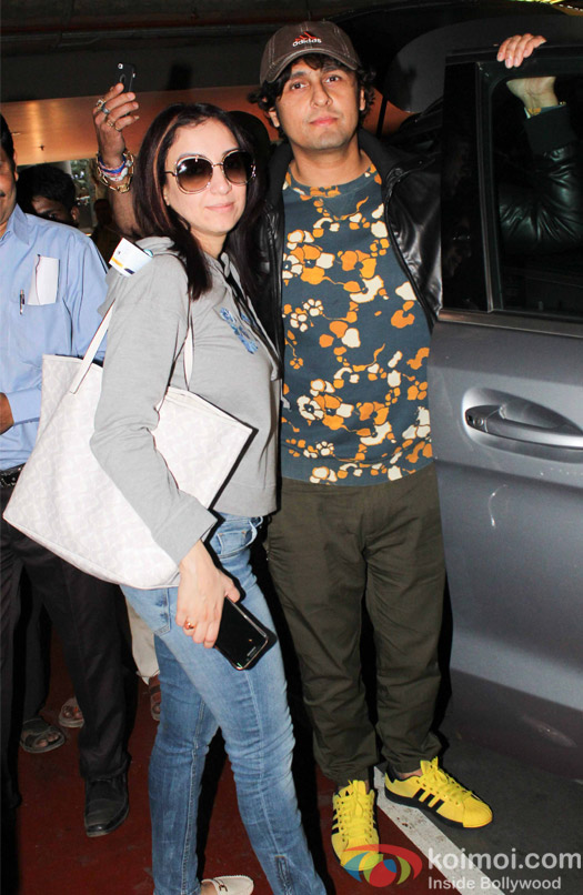 Sonu nigam along with wife Madhurima Nigam spotted at Airport