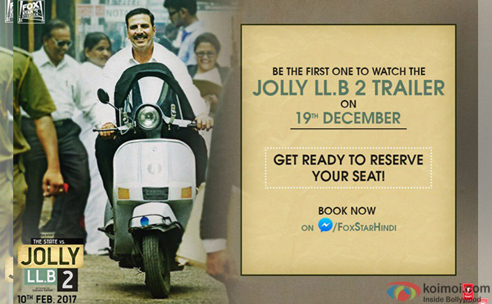 Akshay offers fans chance to 'book seats for 'Jolly LLB 2' trailer launch