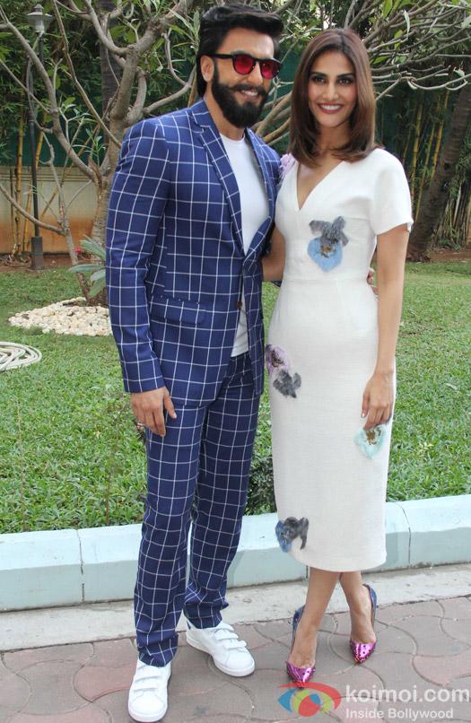 Ranveer Singh and Vaani Kapoor during the promotion of Befikre at YRF studio