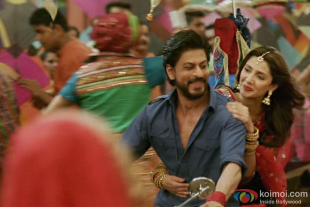 Shah Rukh Khan and Mahira Khan in a still from Raees