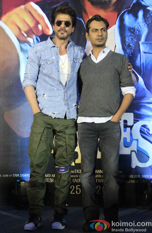 Nawazuddin Siddiqui and Shah Rukh Khan during the Trailer launch of Raees