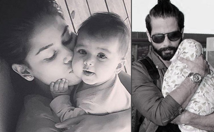 Misha Kapoor with daddy Shahid and mommy Mira