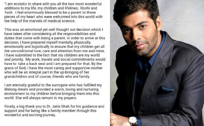 Karan Johar becomes father to twins via surrogacy