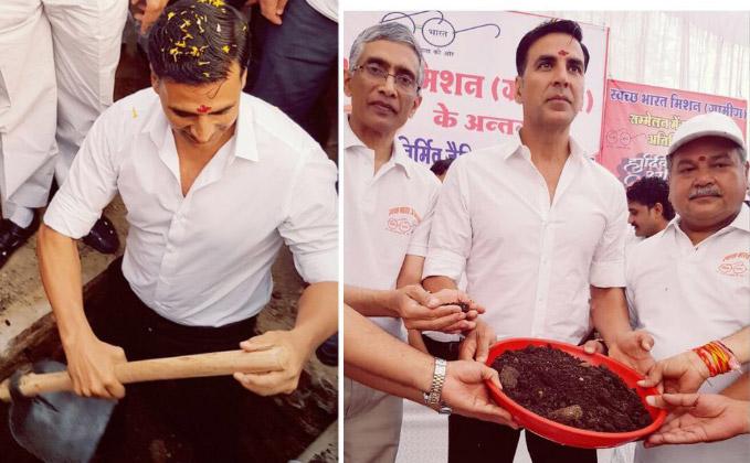 Akshay Kumar digs toilet in MP district