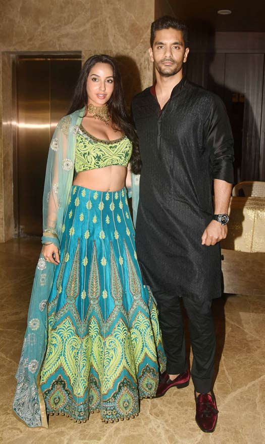 Nora Fatehi and Angad Bedi At Ramesh Taurani's Diwali Party
