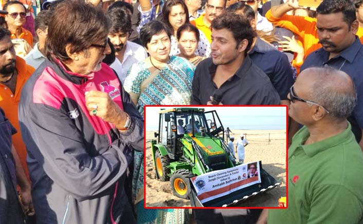 Big B gifts tractor, excavator for cleaning beach