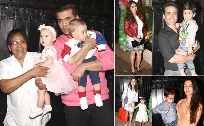 Karan Johar Along With His Twins Yash & Roohi Enjoy At Tusshar Kapoor's Pre-Christmas Party