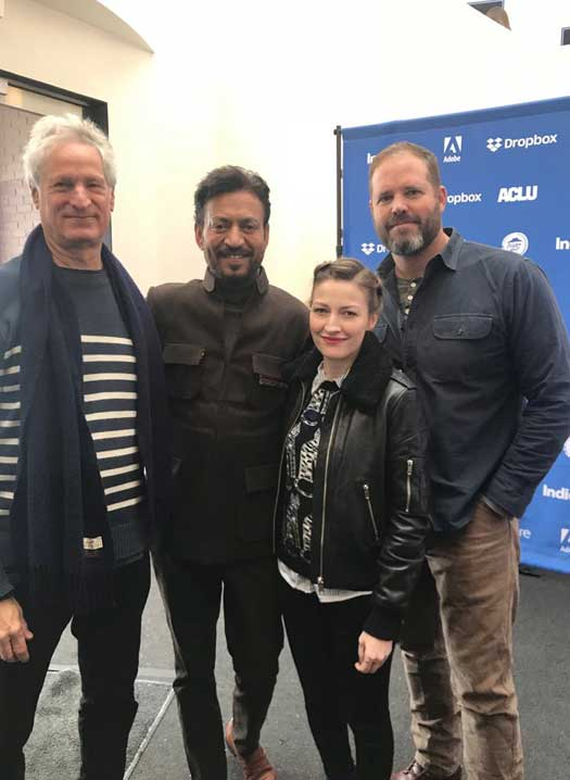 Irrfan Khan strikes a pose with his Puzzle co-star Kelly MacDonald and director Marc Turtletaub at the Sundance International Film Festival