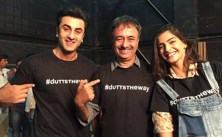 Rajkumar Hirani shared a picture from the sets of Dutt biopic