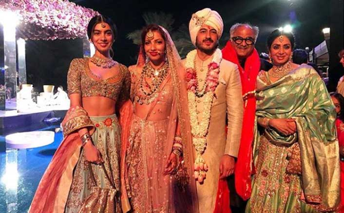Sridevi, Boney Kapoor and Khushi Kapoor struck a stunning pose with the newlywed couple. Congrats! #antumoh