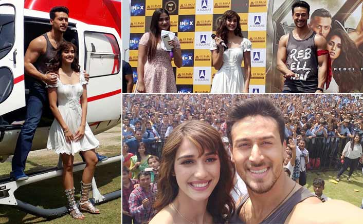 After Mumbai, Baaghi's Tiger and Disha make an entry in a chopper at Delhi's G L Bajaj College