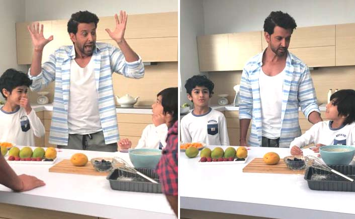 Hrithik Roshan pampers young co-star on sets