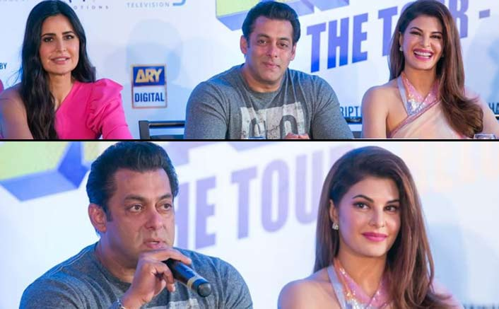 Jacqueline Fernandez stuns in a saree at the Dabanng tour press con in the USA