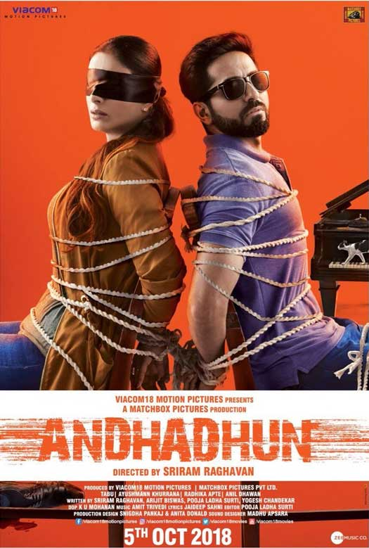 AndhaDhun: Blindfolded Tabu and Ayushmann Khurrana are bound by fate in the latest poster